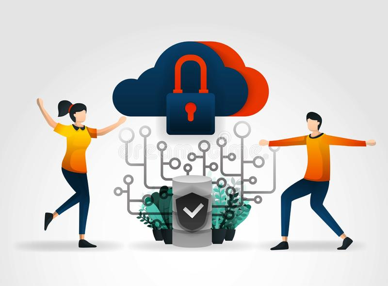 Flat cartoon character. cloud storage is protected from viruses and hacking to maintain servers and databases. database security u stock illustration