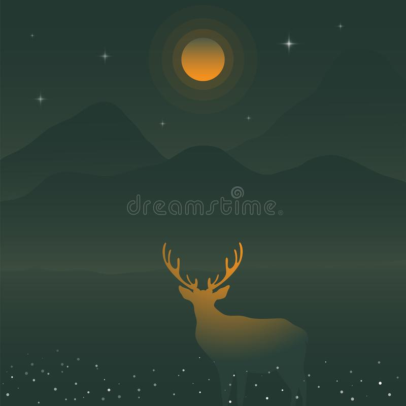 Deer and green mountains under the yellow full moon, deer silhouette. stock illustration