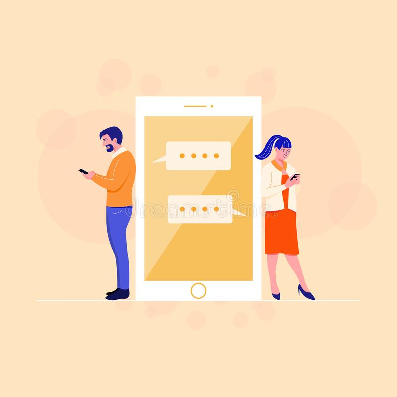 Couple chatting online app. Reading a message. Technology and relationship concept. Flat cartoon character. People chatting social media on mobile app royalty free illustration