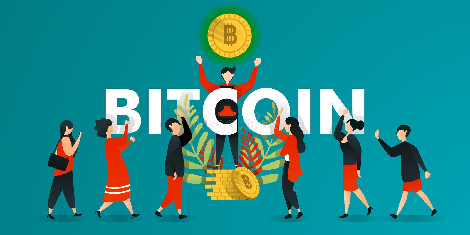 Flat cartoon character. vector illustration for business, marketing, web, finance, currency . man who lifts glowing bitcoin and sh stock illustration