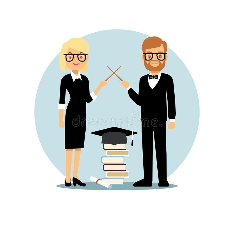 Flat cartoon characters teachers and school accessorises vector illustration