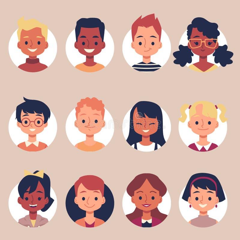 Flat cartoon children portrait icon set inside round frames royalty free illustration