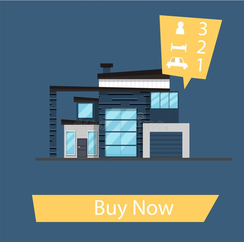 Flat cartoon family house. Banner for the site, button - buy now. Vector illustration stock illustration