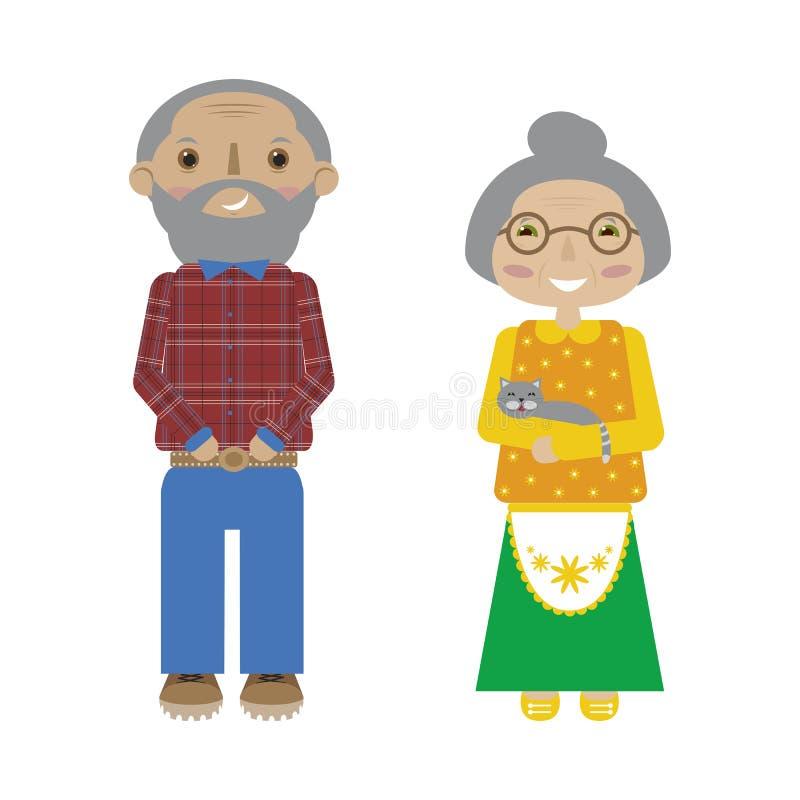 Flat cartoon grandparents. Vector senior pair. Hand drawn flat cartoon grandparents. Vector illustration of senior pair. Grandmother with a cat and grandfather stock illustration