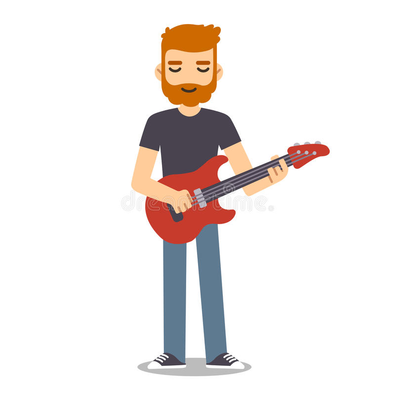 Download Flat Cartoon Guitarist Stock Illustration Of Cool