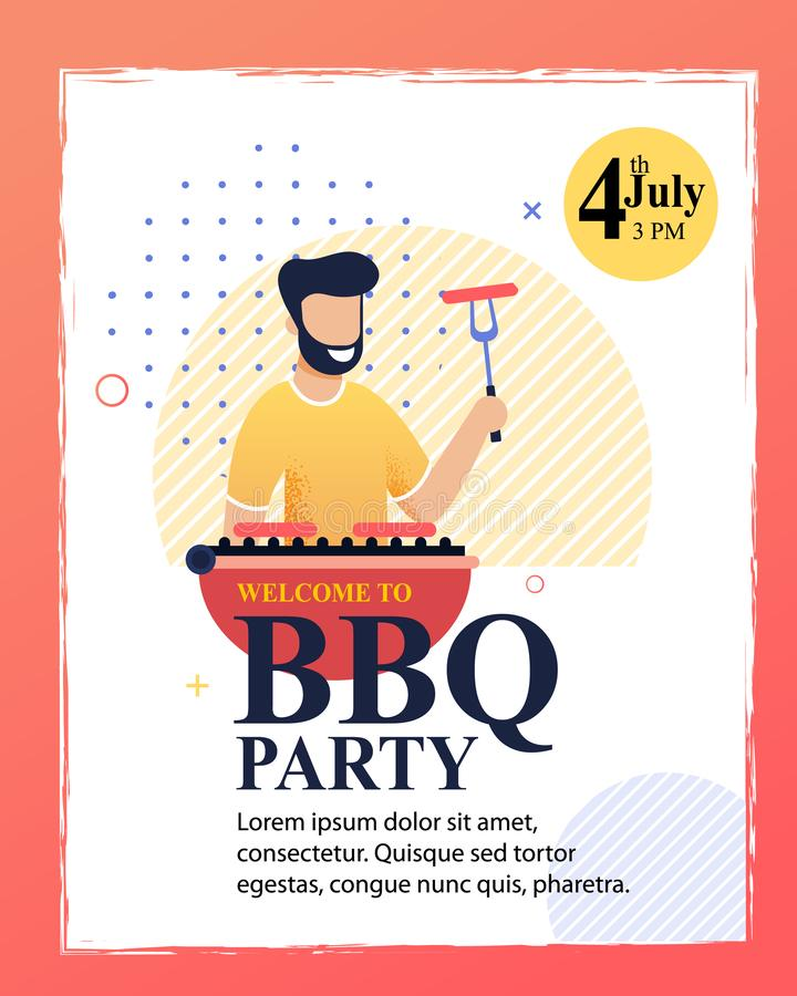 Flat Cartoon Invitation Flyer to Barbecue Party. Flat Cartoon Invitation to Barbecue Party. Flyer with Editable Text and Smiling Bearded Man Preparing Sausages vector illustration