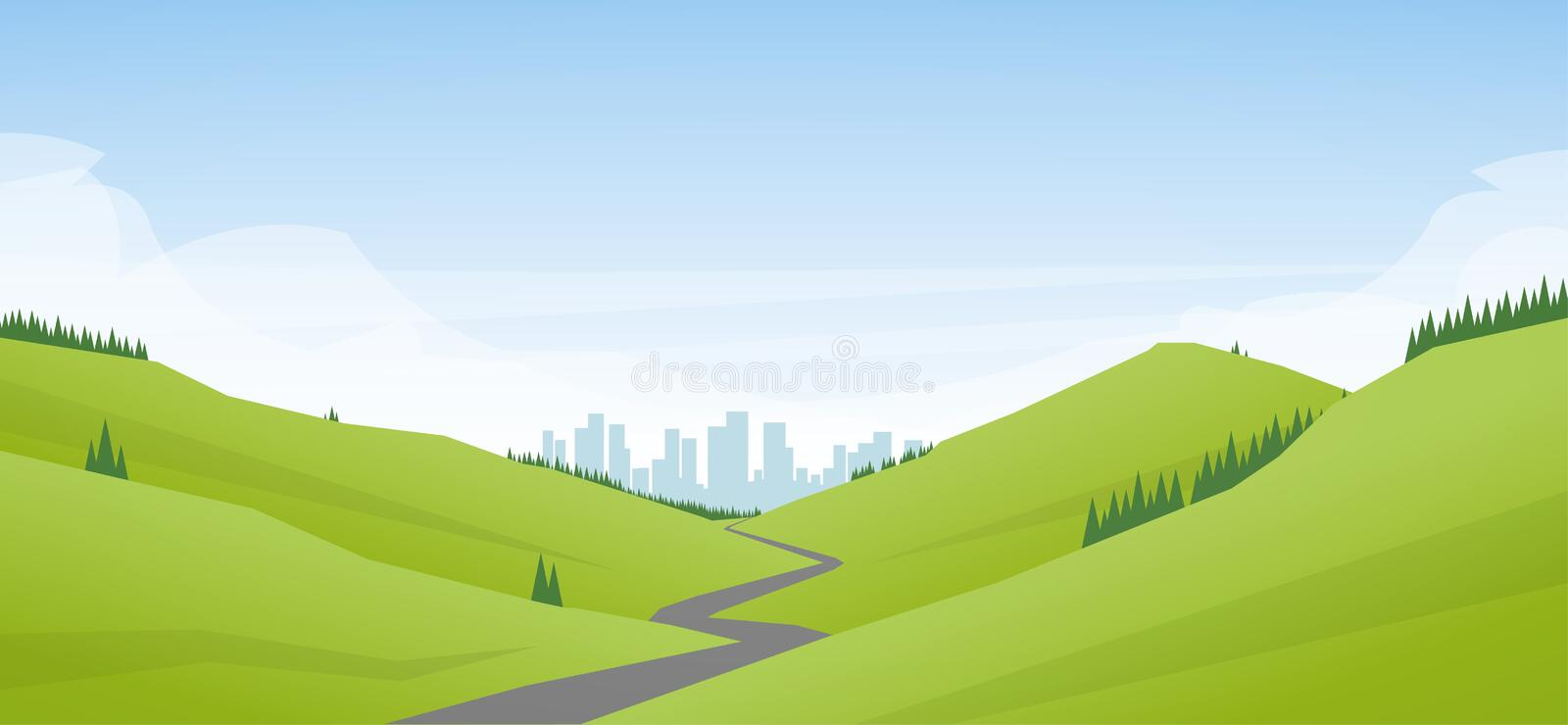 Vector illustration: Flat cartoon Landscape with road leading through the hills to the city or metropolis stock illustration