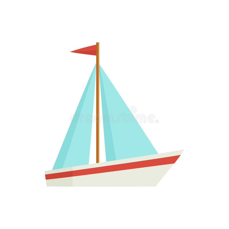 Flat cartoon little sailing ship, boat, sailboat. Little sailing ship, boat, sailboat, flat style cartoon vector illustration isolated on white background. Flat stock illustration