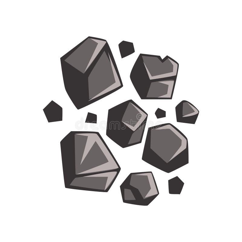 Flat cartoon lumps of coal royalty free illustration