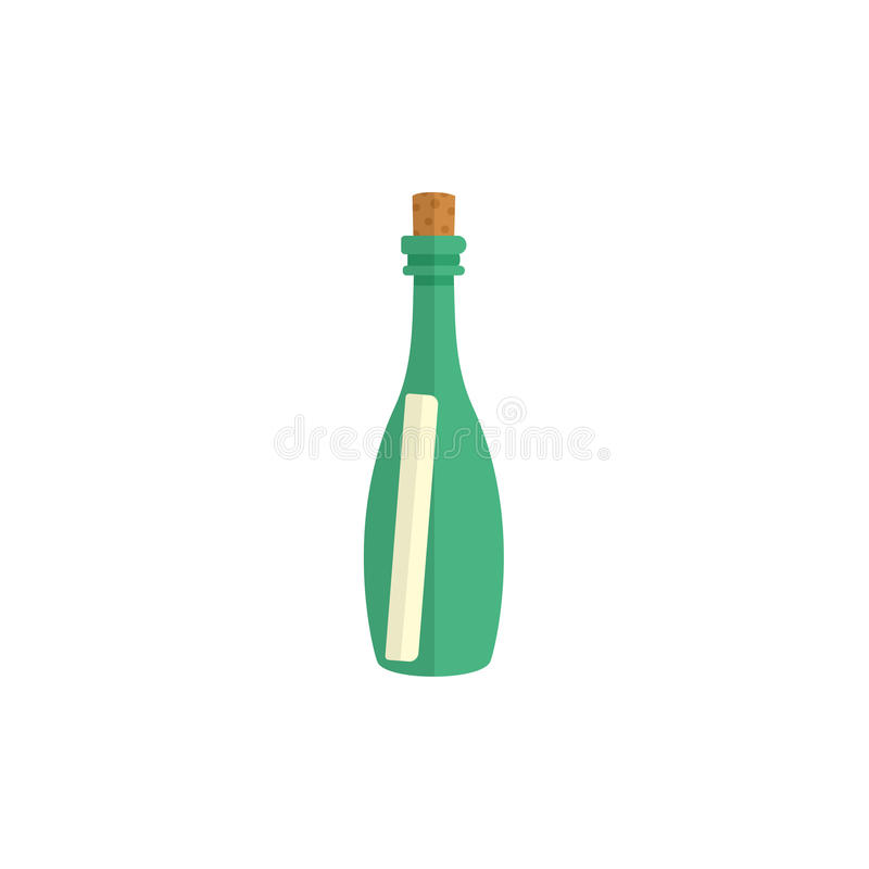 Flat cartoon message letter scroll in glass bottle royalty free illustration