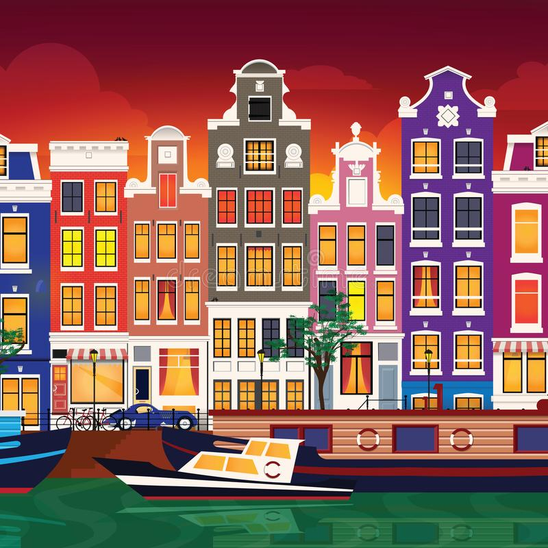 Flat cartoon multicolor colorful historic buildings city town Amsterdam panorama Holland. royalty free illustration