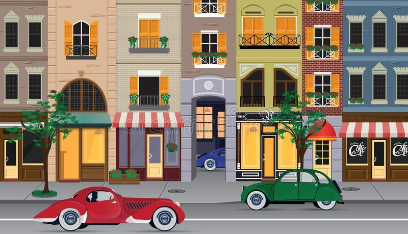 Flat cartoon multicolor colorful historic buildings city town Paris, France. Vector illustration. vector illustration