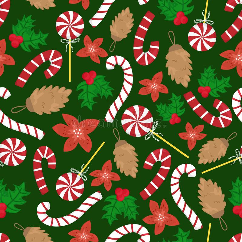 Flat cartoon new year seamless pattern. Lollipops, cones, red flowers vector illustration