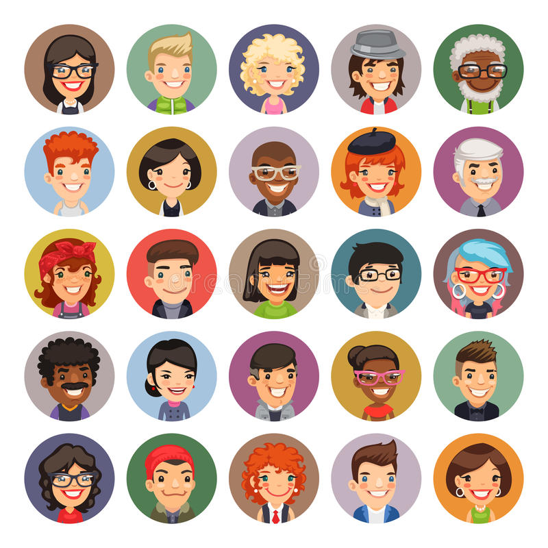 Flat Cartoon Round Avatars on Color. Set of 25 flat cartoon round avatars on color circles. Casual people. Clipping paths included royalty free illustration