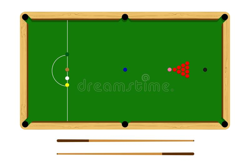 Flat cartoon snooker table, billiard ball set, brown wooden table and cue on white background, vector illustration royalty free illustration