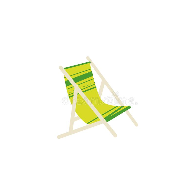 Download Flat Cartoon Striped Lounge Chair, Tanning Bed Stock Vector    Illustration Of Resort,