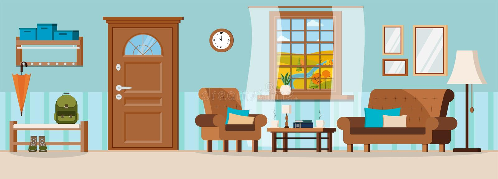 Flat cartoon style vector illustration cozy hallway with furniture, closed door, window view of autumn river landscape vector illustration