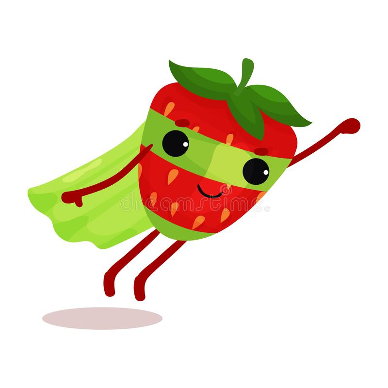 Flat cartoon superhero strawberry in green cape and mask flying with hand up vector illustration