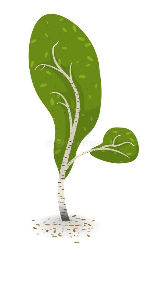 Flat cartoon vector illustration of a tree royalty free stock photo