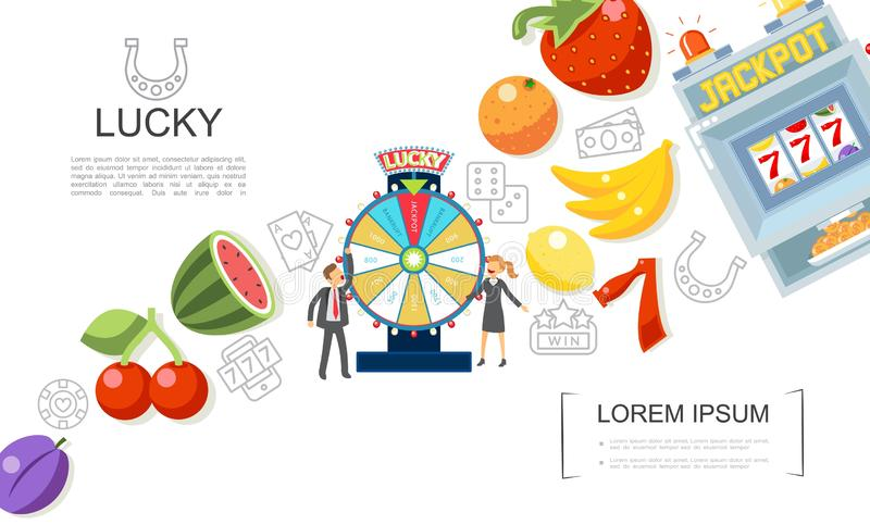 Flat Casino And Gambling Elements Concept royalty free illustration