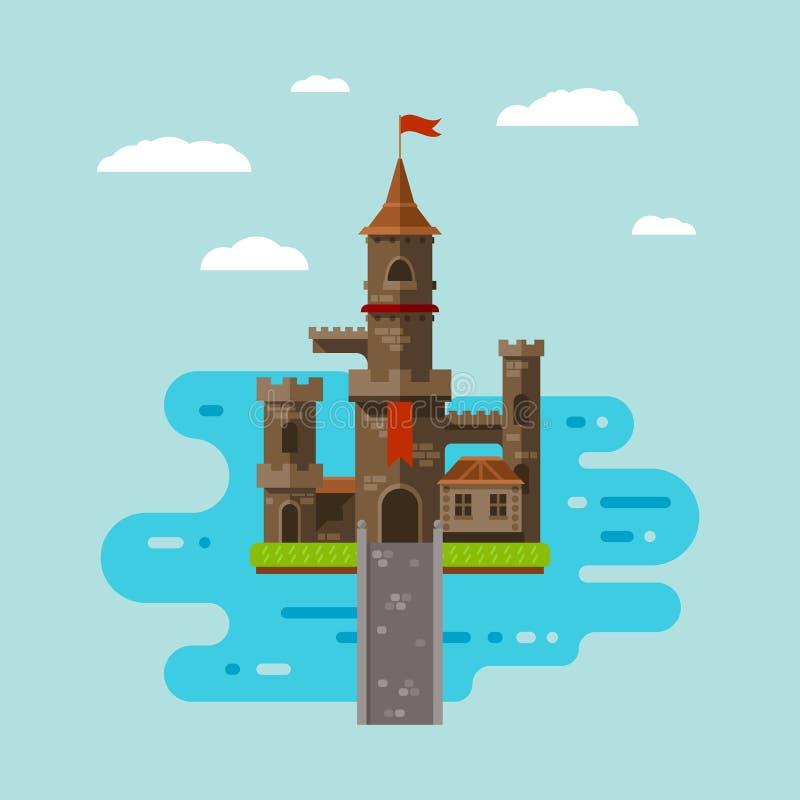 Flat castle art royalty free stock image