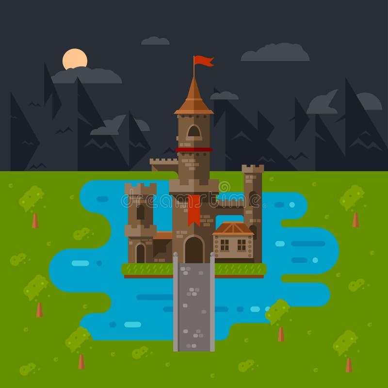 Flat castle art royalty free stock photo
