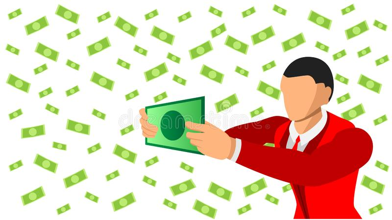 Flat character businessman holds paper dollars. dollar background pattern separate background royalty free illustration