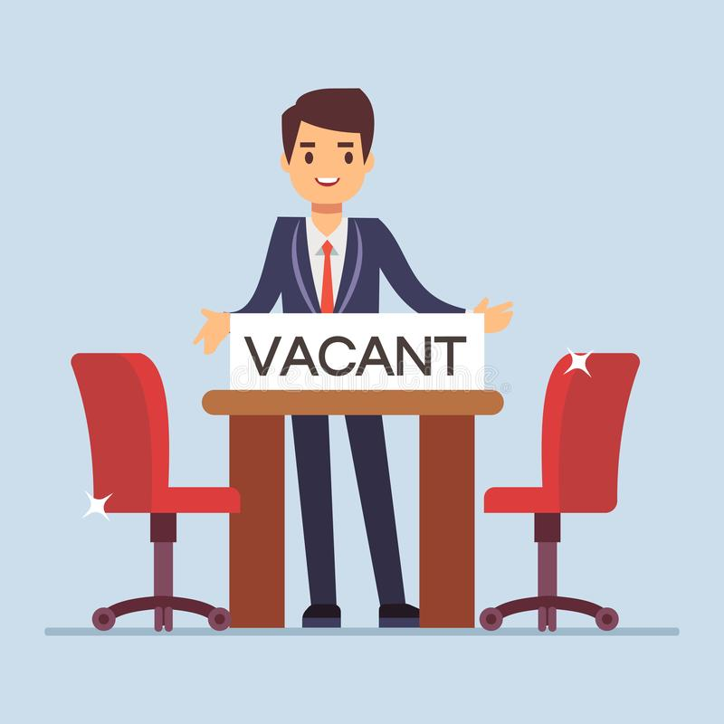 Flat character businessman manager invites for interview. Two empty work chairs. Flat character businessman invites for an interview. Vector illustration royalty free illustration