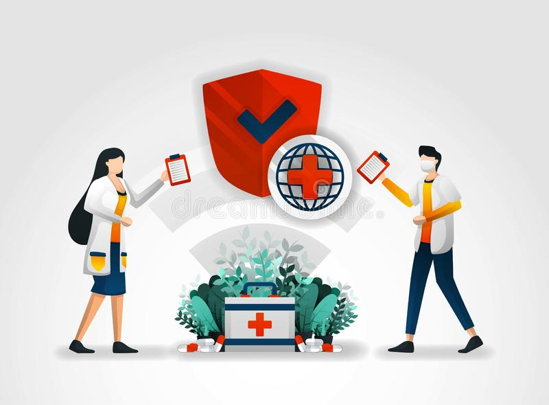 Flat character. doctors provide security policies for hospital services for ensure health of patients. to ensure safety of health. Service customers provides royalty free illustration