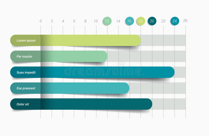 Flat chart, graph. Simply color editable. Infographics elements stock illustration