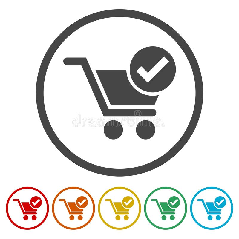 Flat checkout icons set. Vector icn royalty free illustration