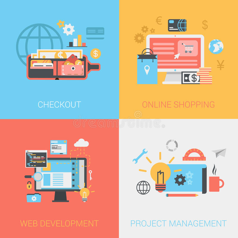 Flat checkout online shopping web develop project management set. Flat checkout methods, online shopping, web development, project management concept. Vector stock illustration