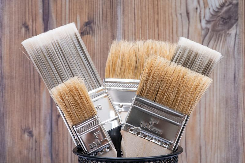 Flat Chip and Flat Cut Utility Paint Brushes   on wood stock photography
