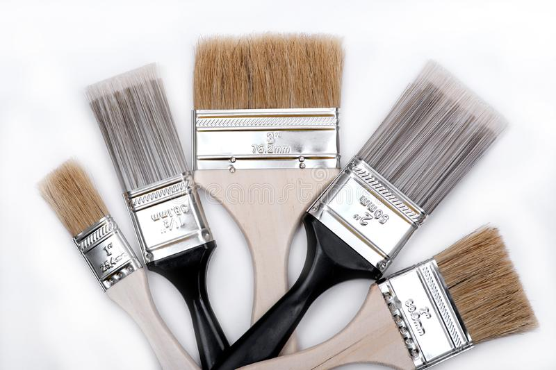 Flat Chip and Flat Cut Utility Paint Brushes   isolated on white stock image