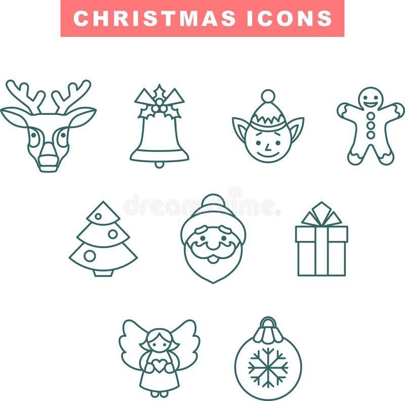 Flat Christmas Icons Stock Images