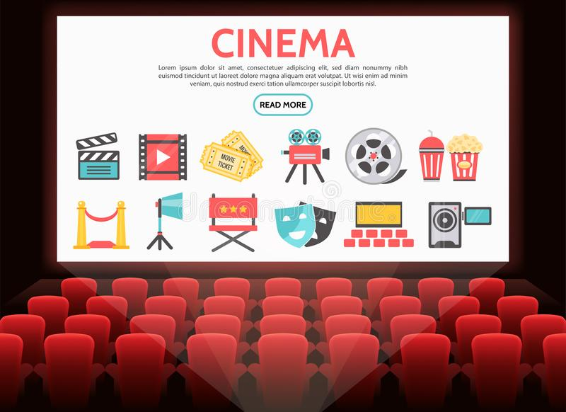 Flat Cinema Elements Set. With film reel tickets movie camera soda popcorn clapboard red carpet projector theater masks director chair on screen vector royalty free illustration