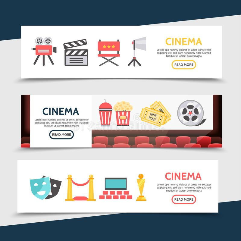 Flat Cinema Horizontal Banners. With movie camera clapboard director chair projector soda popcorn tickets film reel theater masks red carpet seats award vector vector illustration