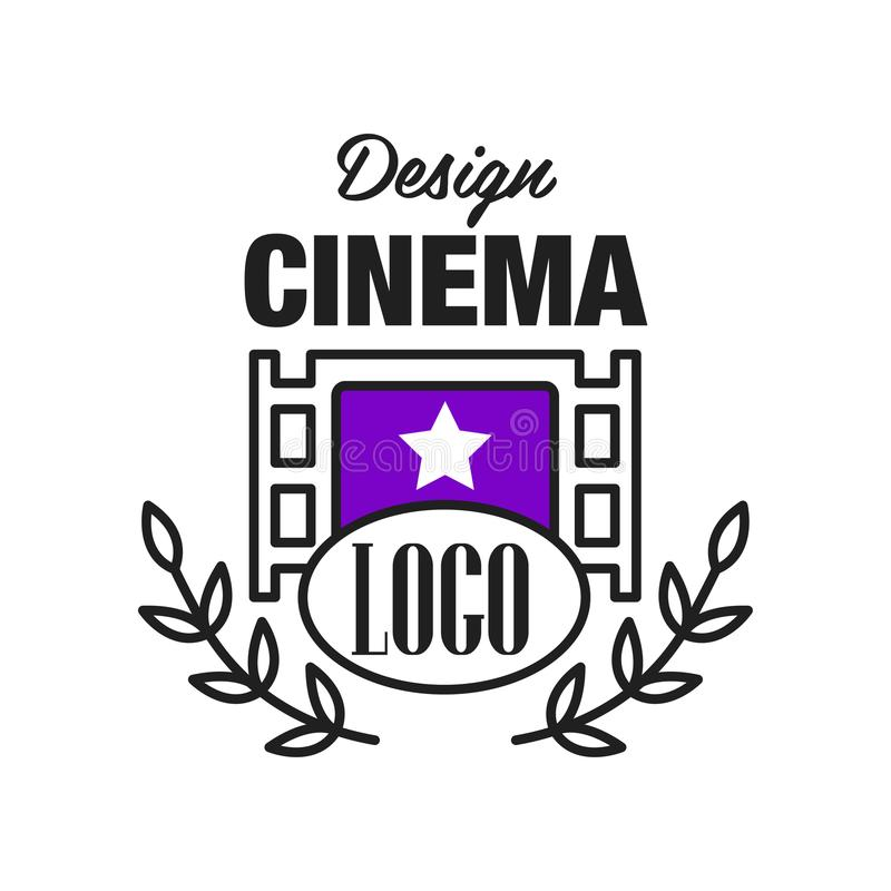 Flat cinema or movie logo template design with retro filmstrip and laurel branches. Cinematography emblem concept. Line royalty free illustration