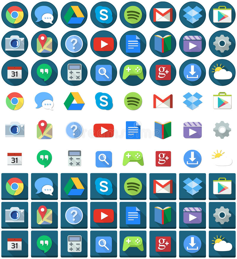 Flat Circle Square Android Icons. Vector illustration set of android applications flat icons round and square vector illustration