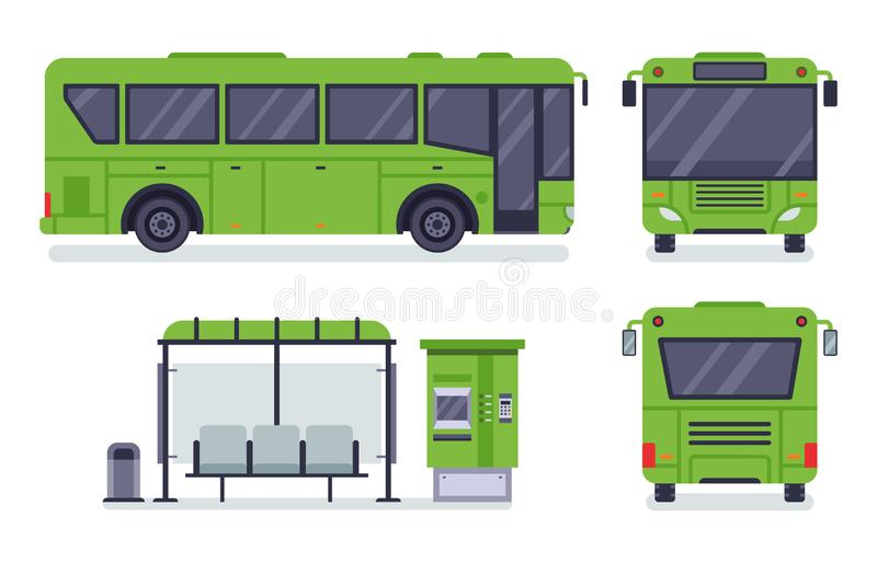 Flat city bus. Public transport stop, autobus ticket office and buses vector illustration set. Flat city bus. Public transport stop, autobus ticket office and stock illustration