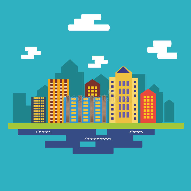 Flat city landscape vector illustration