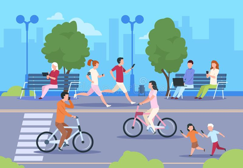 Flat city people street. Town park nature landscape bicycle walk urban lifestyle walking man and woman. City background vector illustration