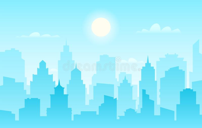 Flat cityscape. Modern city skyline, daytime panoramic urban landscape with silhouette buildings and skyscraper towers. Vector sunlight facade panorama outline royalty free illustration