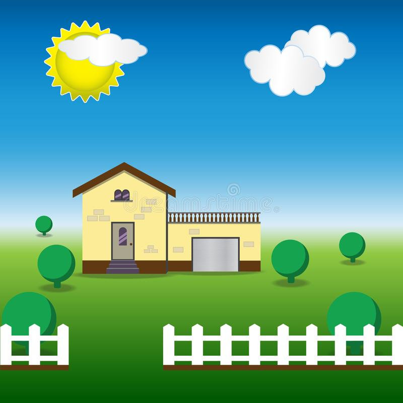 Flat classical house with fence and bushes and sky nature. Modern house concept stock illustration