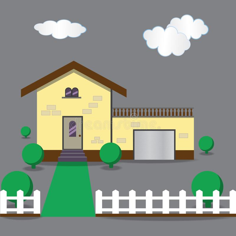 Flat classical house with white fence and bushes. Modern house concept vector illustration