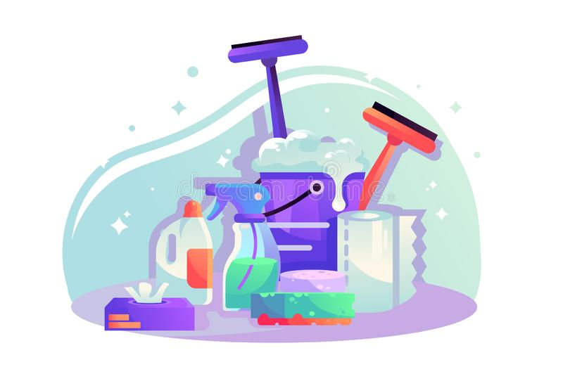 Flat cleaning items with spray, napkins, sponge, bucket with detergent. stock illustration