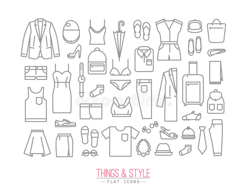 Flat clothes icons stock illustration