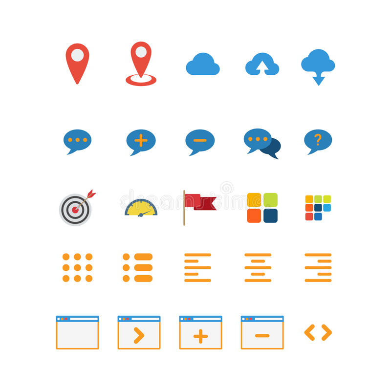 Flat cloud chat map pin mobile interface web app icon. Flat style creative modern mobile map cloud chat interface web app concept icon set. Website icons royalty free illustration