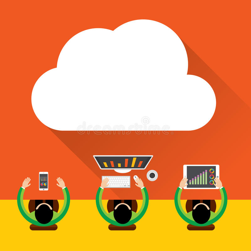 Download Flat Cloud Computing Background. Data Storage Network Technology, Digital Marketing Concept, Multimedia Content And Web Sites Host Stock Vector - Illustration: 57014457