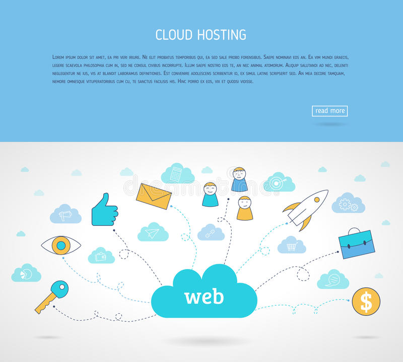Flat cloud hosting. Web baner. Modern line style concept for web banners. Flat line design vector illustration concepts for base networking. Computer network royalty free illustration